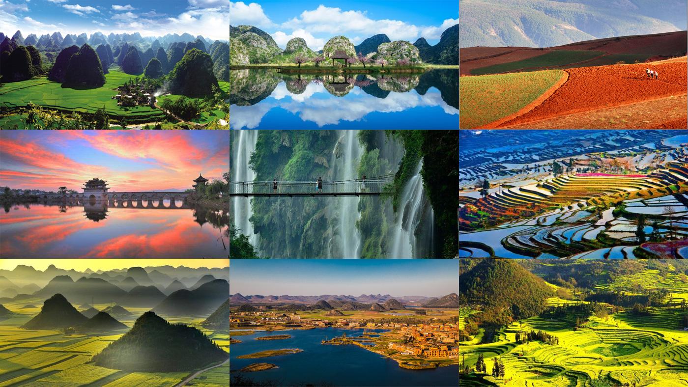 มณฑลยูนนาน, หลัวผิง, ทุ่งดอกคาโนล่า, ซิ่งอี้, วั้นเฟิงหลิน, หมู่บ้านผู่เจ่อเฮย, ทุ่งนาขั้นบันไดหยวนหยาง, เมืองโบราณเจี้ยนสุ่ย, ดินแดงตงชวน, คุนหมิง
